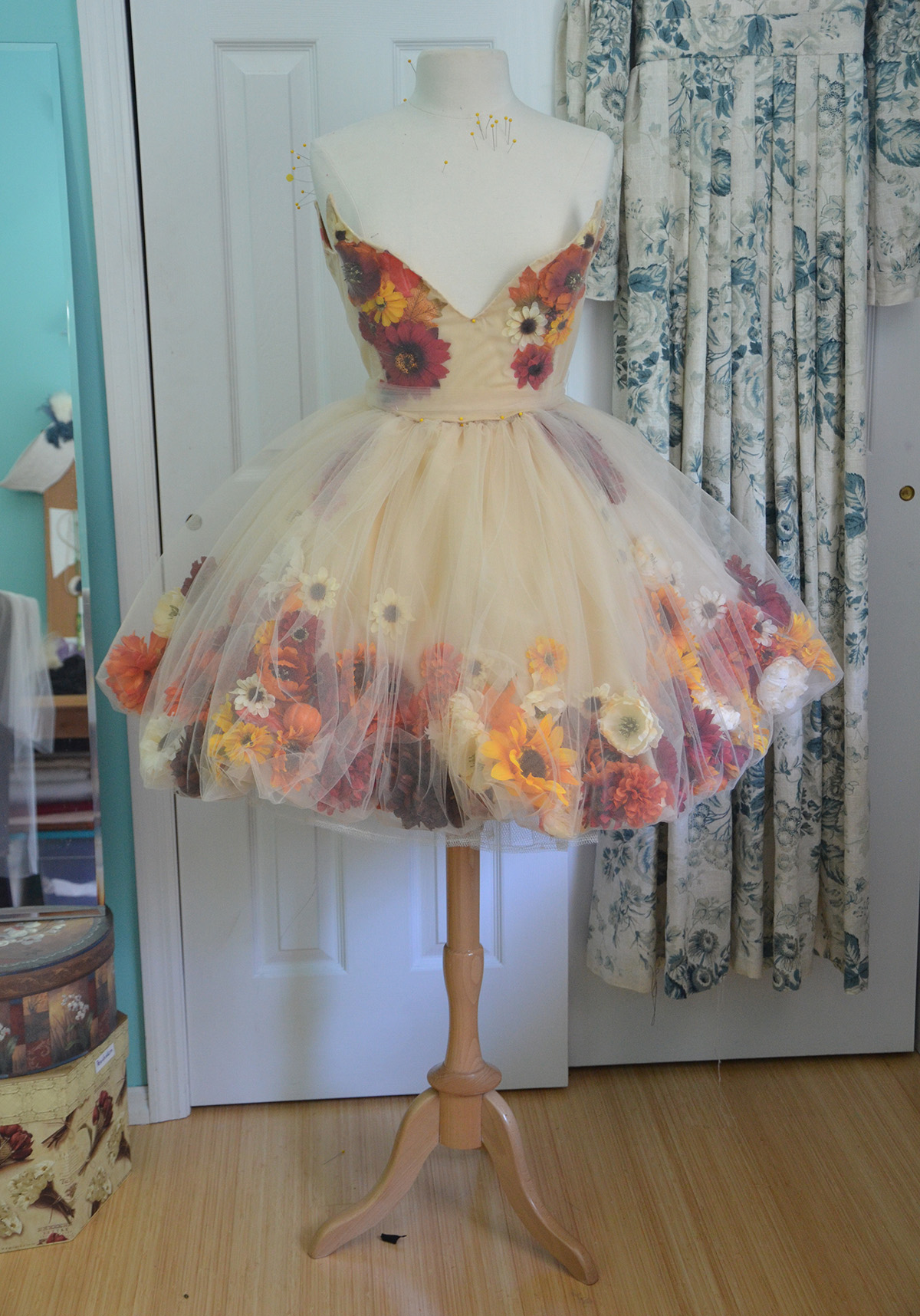Making a fall flower fairy part one angela clayton 39 s for How to make a long tulle skirt for wedding dress