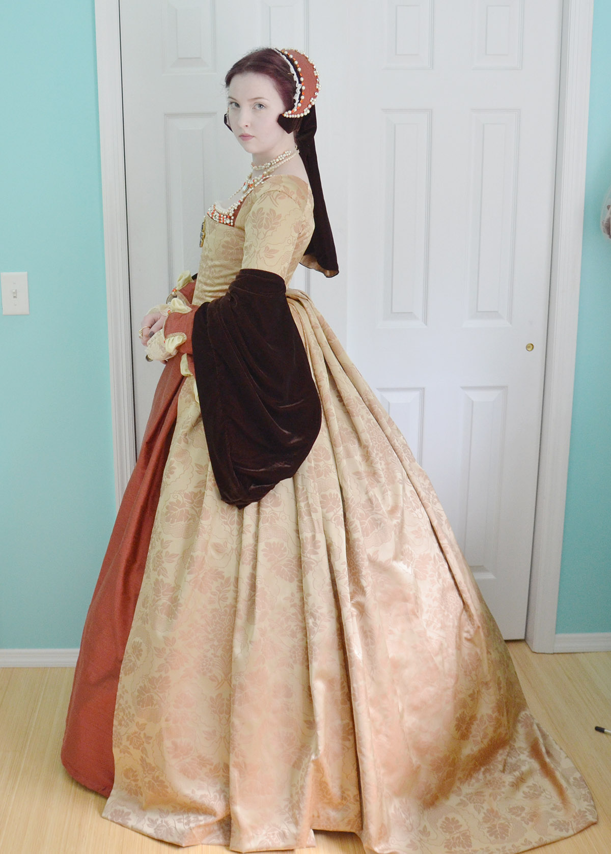 Orange Tudor Ensemble – Angela Clayton\'s Costumery & Creations
