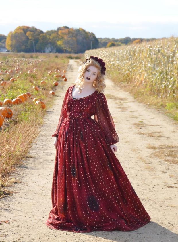 Harvest.Red Foiled Dress.10