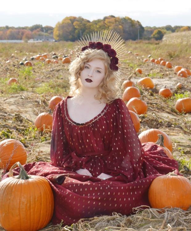 Harvest.Red Foiled Dress.2