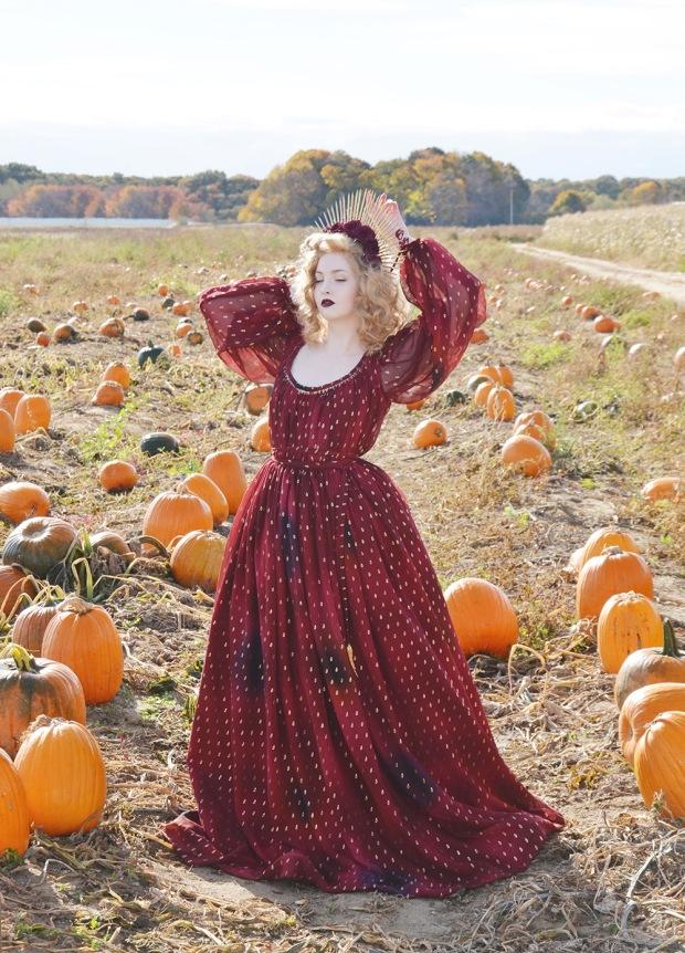 Harvest.Red Foiled Dress.4