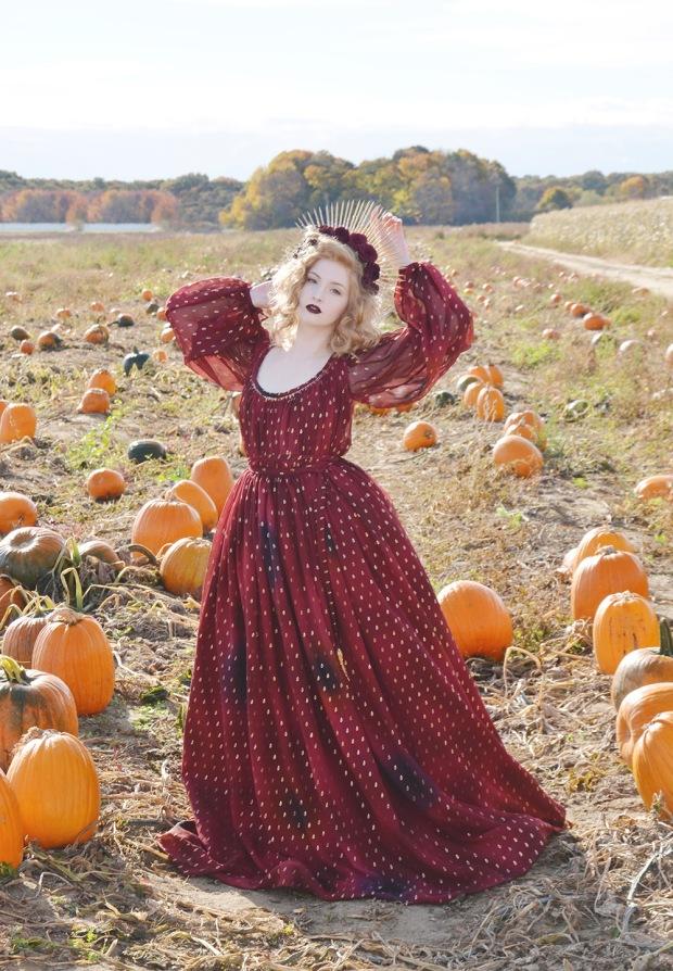 Harvest.Red Foiled Dress.5