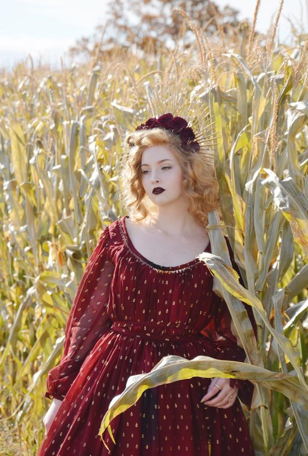 Harvest.Red Foiled Dress.6