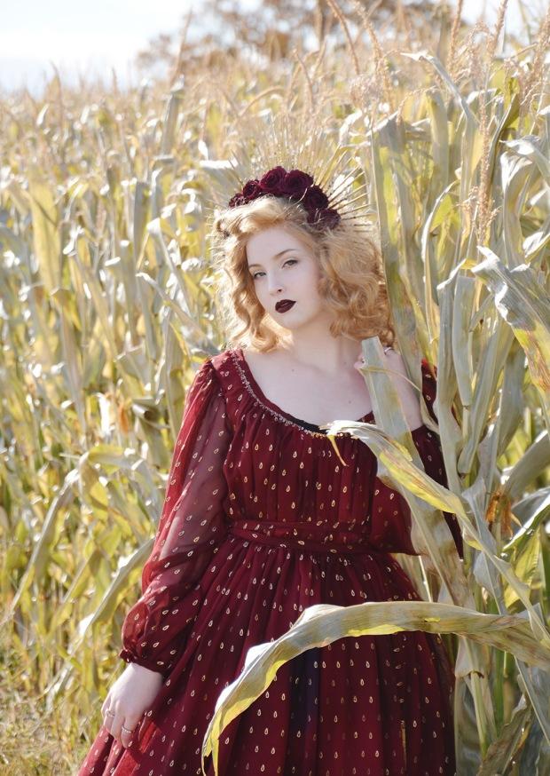 Harvest.Red Foiled Dress.7