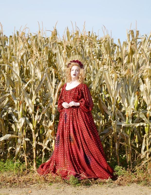 Harvest.Red Foiled Dress.9