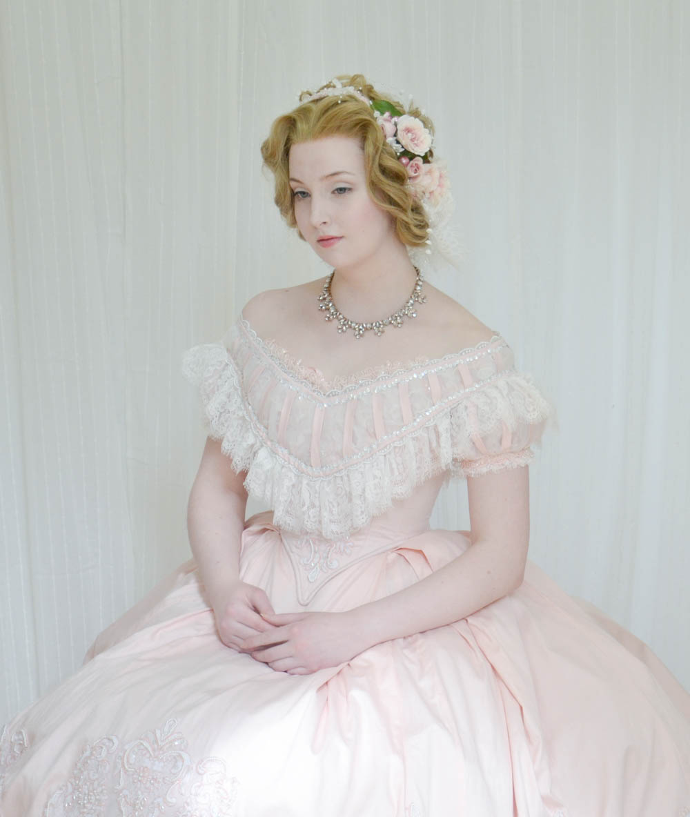 19eb1fe95c717 Making a Pink Sateen Ball Gown, 1860's Inspired, Part Four – Angela  Clayton's Costumery & Creations